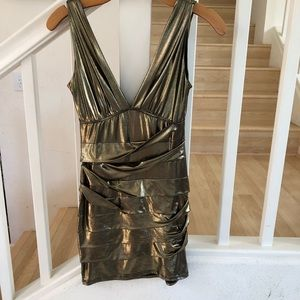 Gold lame' style party dress